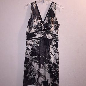 Romy XL Silk-like Black and White Floral Dress